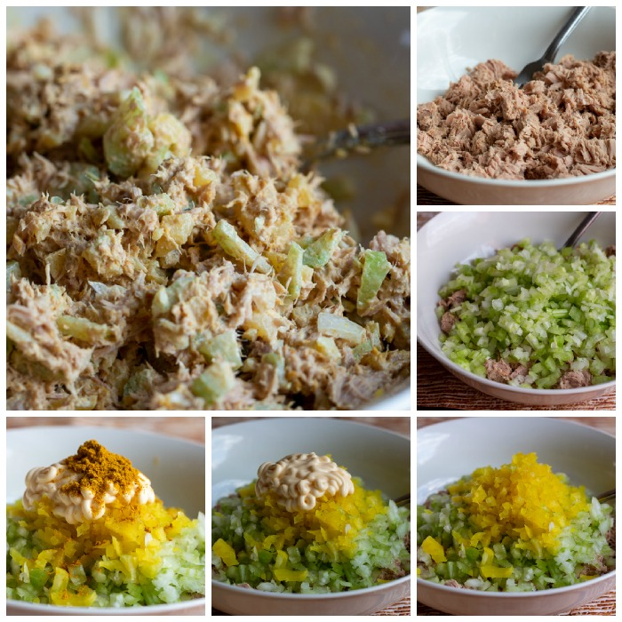 6 steps of adding the ingredients to the tuna salad and stirred up and ready for use.