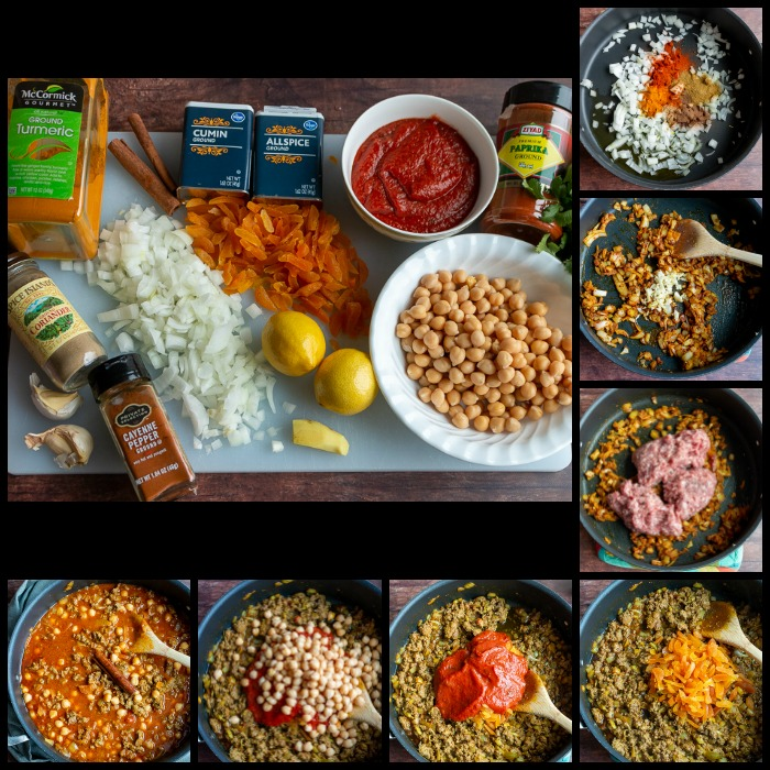 Showing the step by step on how to make the stew and all the spices and ingredients laid out.