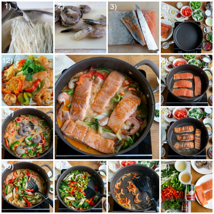12 Step by steps for making Thai Salmon Bowls.