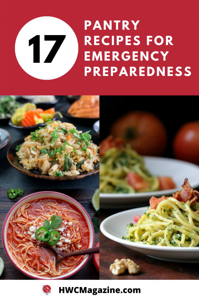 Pantry Recipes for Emergency Preparedness with Mexican Noodle Soup, rice and lentils and spinach pasta.