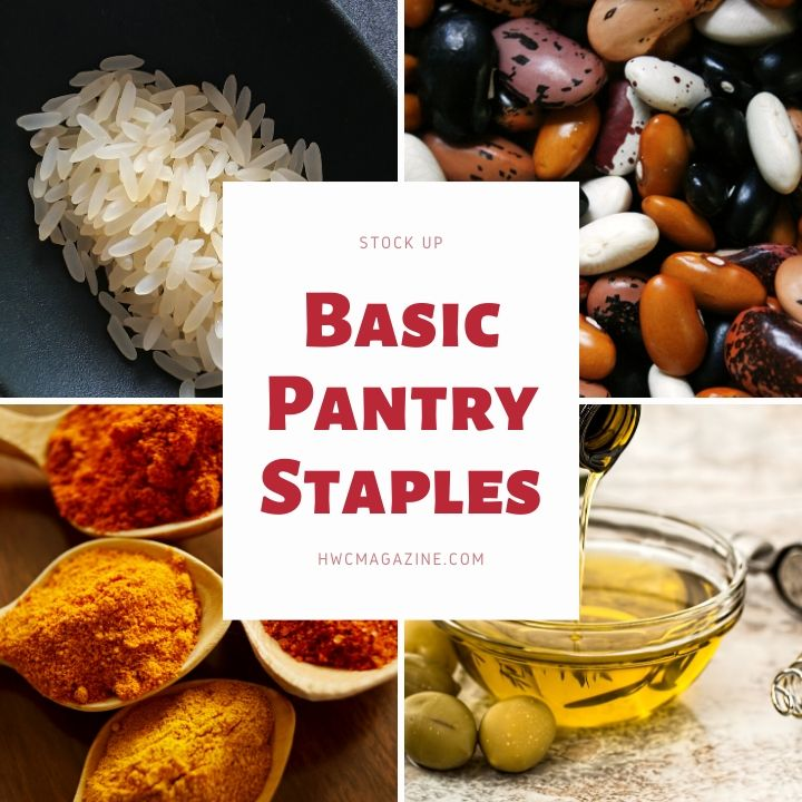 Basic Pantry staples of rice, beans , spices and oil for Pantry Recipes for Emergency Preparedness.