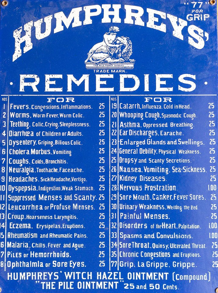 Photo of Humphreys Remedies listing everything from a toothache cure to cough and everything in between.