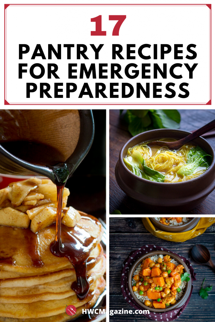 Pantry Recipes for Emergency Preparedness with homemade breakfast syrup, noodle soup and turkey sweet potato curry.