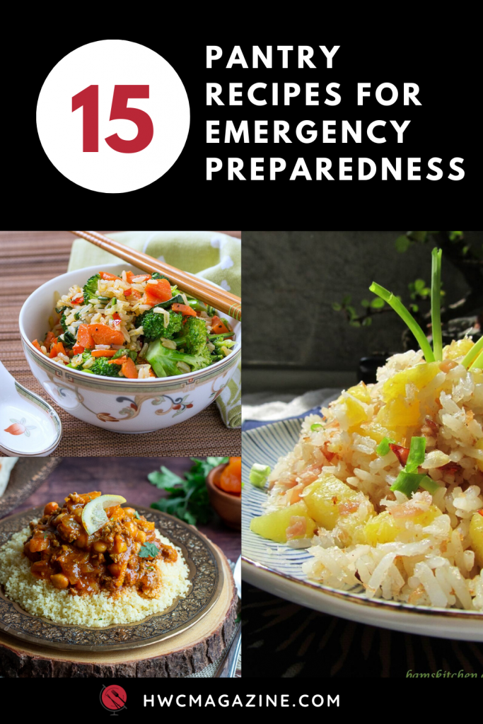 Pantry Recipes for Emergency Preparedness with vegan curried rice, Hawaiian luau rice lamb stew.