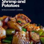 Sheet Pan Roasted Shrimp and Potatoes piled high.