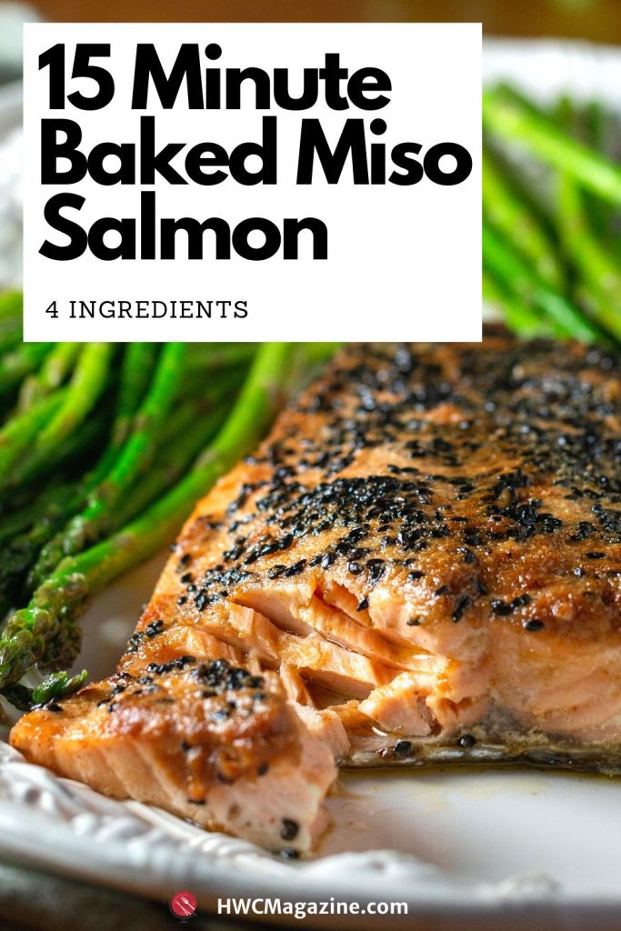15 minute baked miso salmon with just 4 ingredients. The bite shot with flaky salmon on a fork.