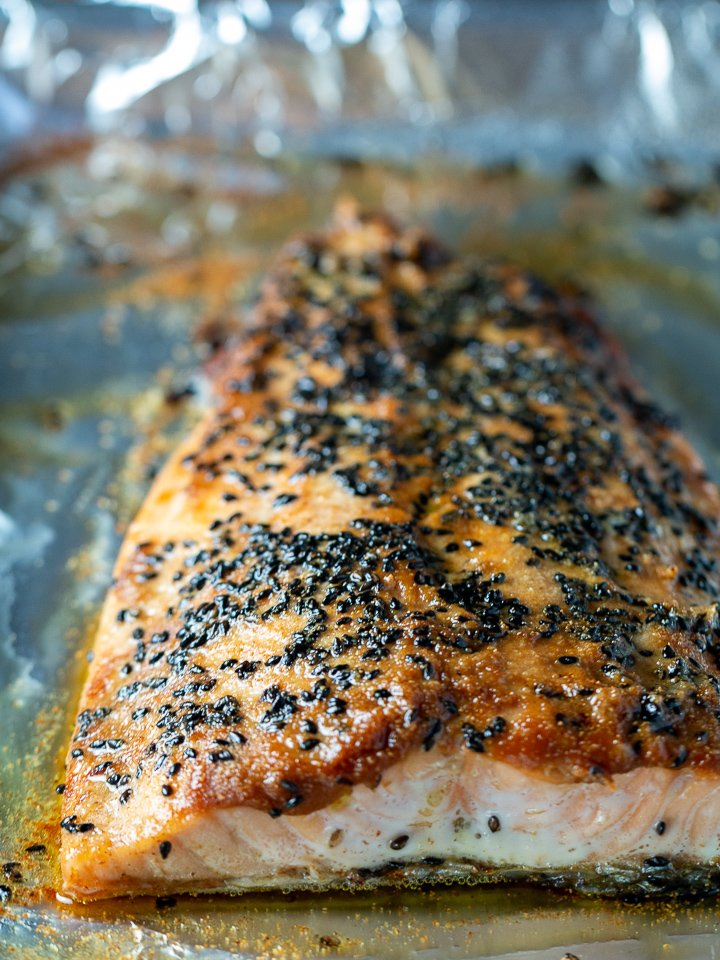 Miso Salmon just out of the oven on a sheet pan.