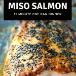 Japanese Miso Salmon with black sesame seeds on a sheet pan.