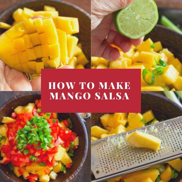 Step by step how to make easy mango salsa.