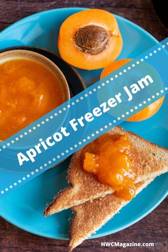 Top down shot of apricot freezer jam on toast on blue plate with a blue sign.