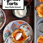 Mini Apricot Tart on a beautiful Japanese plate with a bowl of coconut whipped topping on the background.
