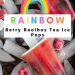 Rainbow rooibos Iced Tea Pops on a layer of ice ready for serving.