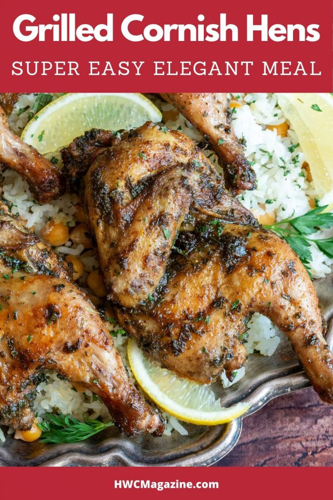 Moroccan Spiced Grilled Split Cornish Hens.