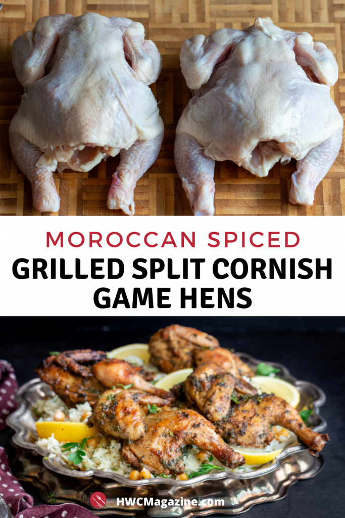 Top photo of 2 small cornish hens and bottom of grilled Moroccan Cornish hens on a silver platter.
