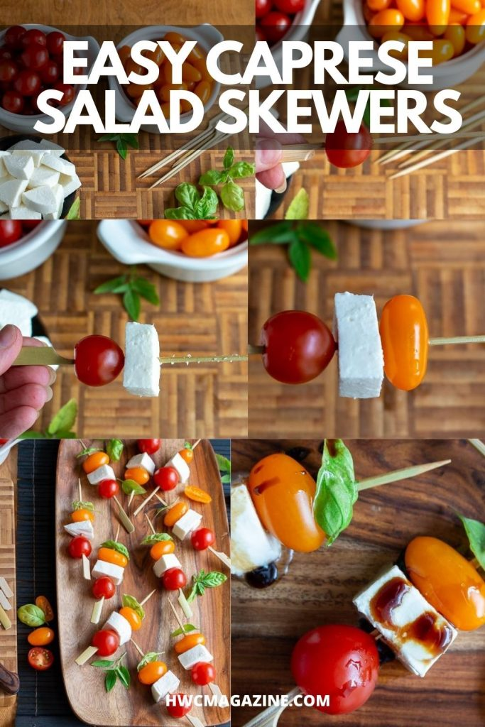 Step by step showing how to make a caprese salad stick.