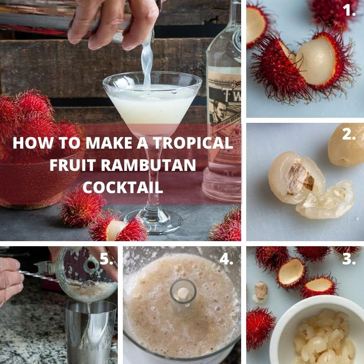 Step by step hoe to make a tropical cocktail drink.