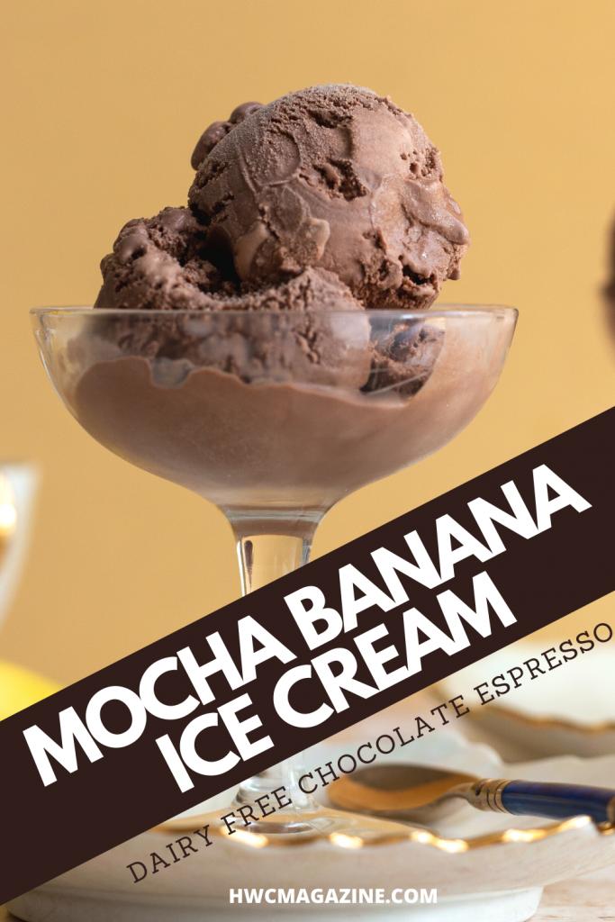 Mocha Banana Nice Cream in a tall stem glass.