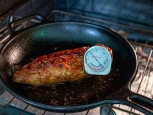 Pork temperature 145 degrees in thermometer.