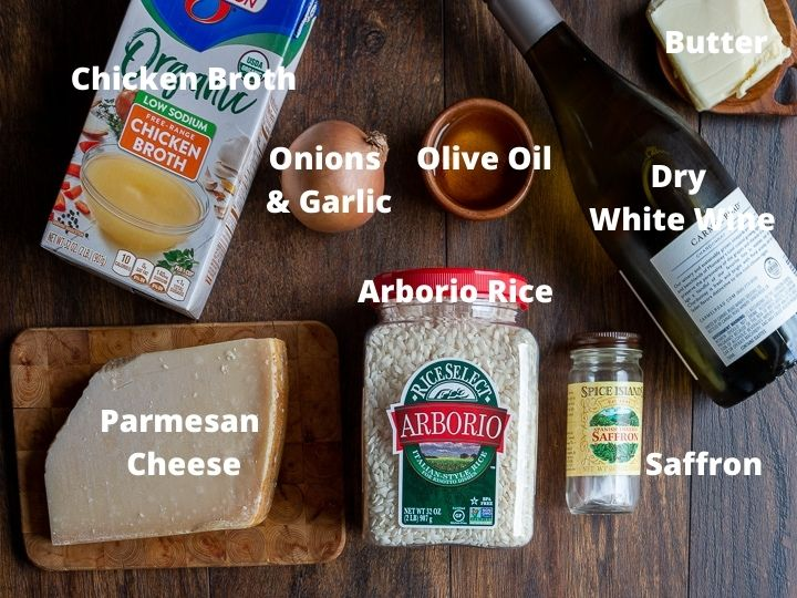 Ingredients for creamy parmesan risotto.