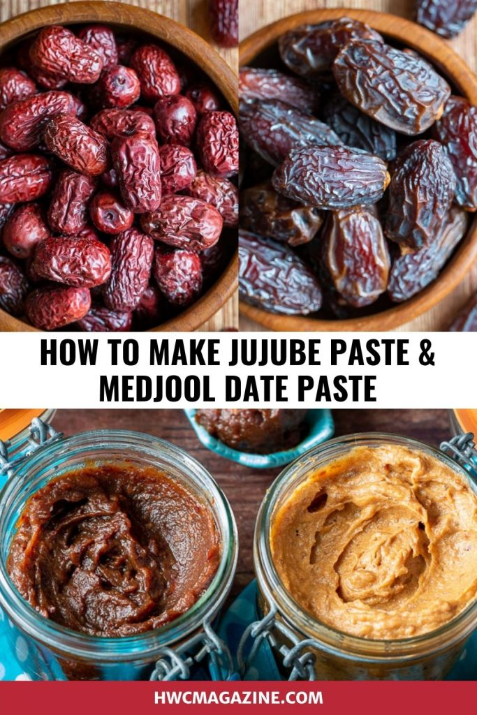 Red dates and Medjool whole dates with picture of them made into date pastes below.