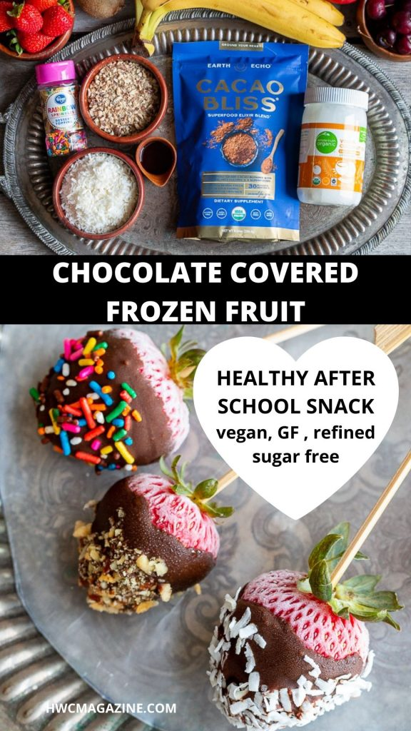 simple ingredients for a quick frozen chocolate covered strawberries.